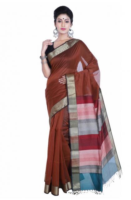 Brown Maheswari Silk Saree