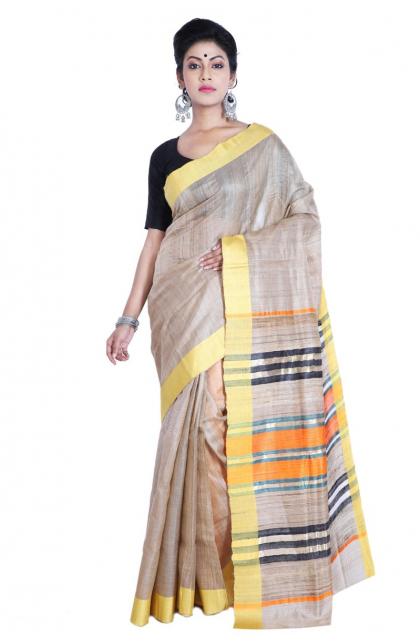 Beige Tussar Silk Handloom Saree