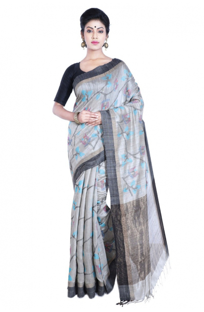 Grey Matka Silk Saree