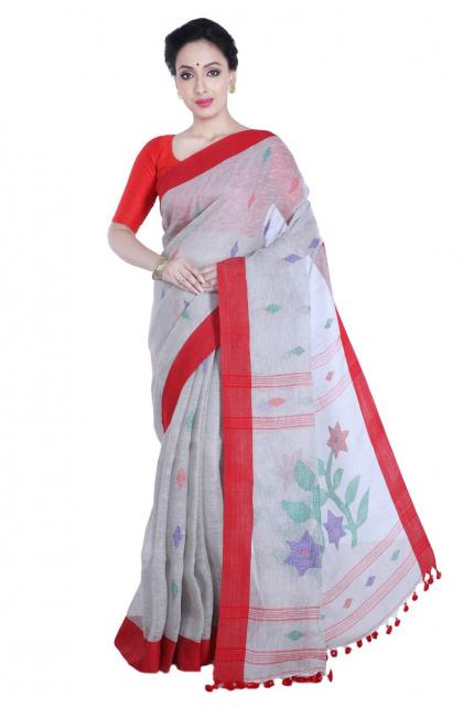 Grey Linen Handloom Saree
