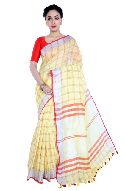 Yellow Linen Handloom Saree
