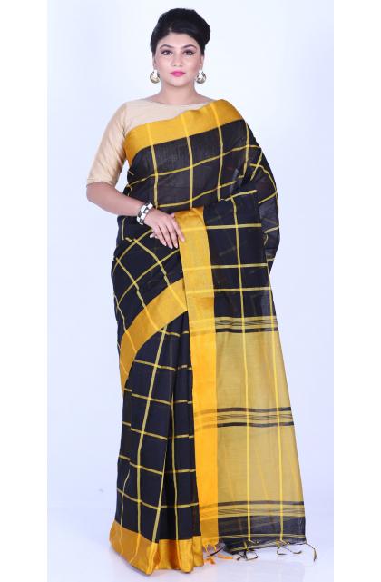 Black Checkered Cotton Blend Saree