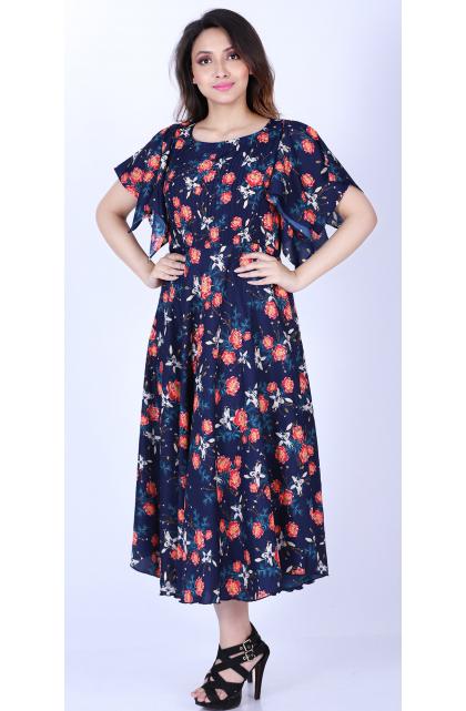 Multicolor Poly Crepe Floral Prints Long Dress