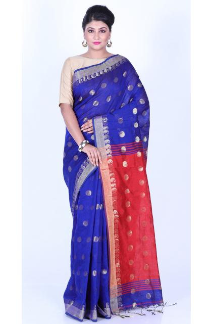 Blue Cotton Blend Handloom Saree