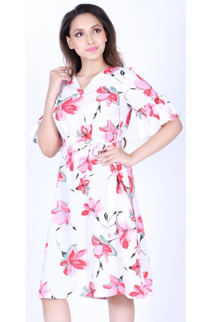 Multicolor Poly Crepe Floral Prints Dress