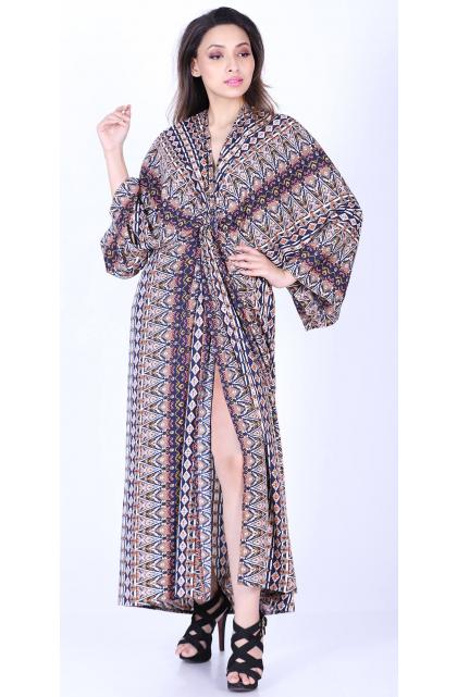 Multicolor Geometric Print Long Dress