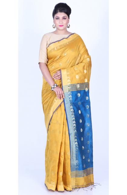 Yellow  Cotton Blend Handloom Saree
