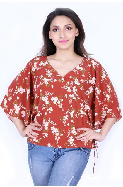 Multicolor Printed Georgette Chiffon Blend Kimono Top