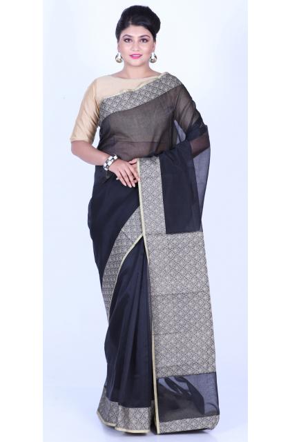 Black Blended Silk Patola Saree