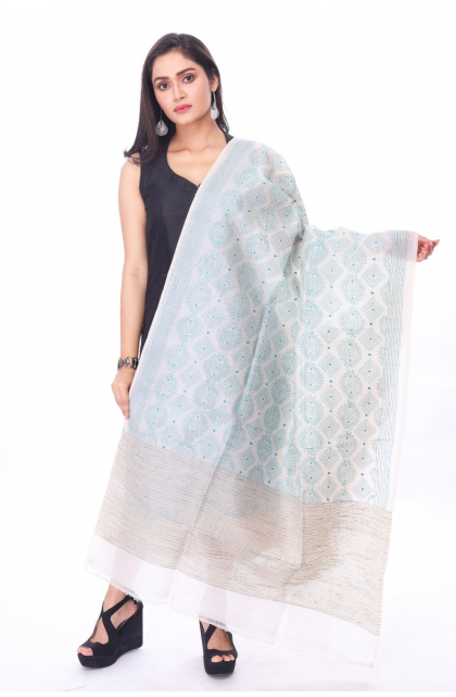 Off White Tussar Hand Embroidery Kantha Dupatta