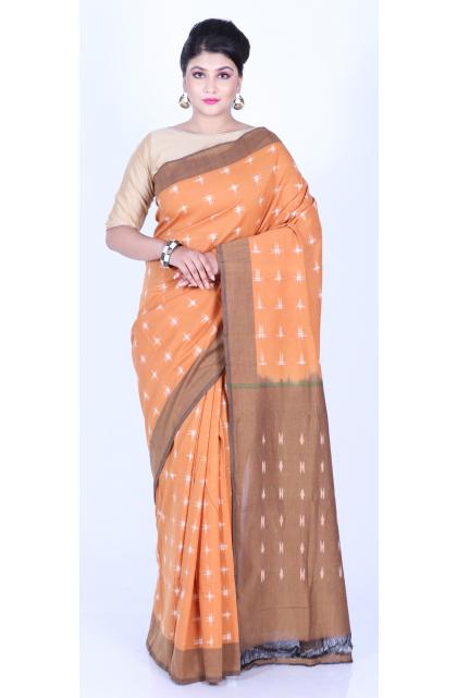 Orange Pure Cotton Ikkat Saree