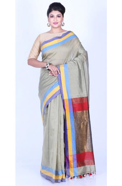 Grey Cotton Silk Handloom Saree
