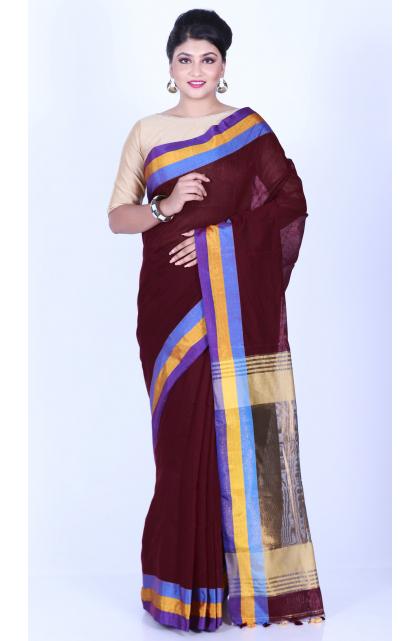 Maroon Cotton Silk Handloom Saree