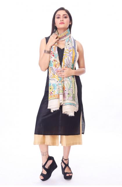 Off White Tussar Hand Embroidered Kantha Dupatta