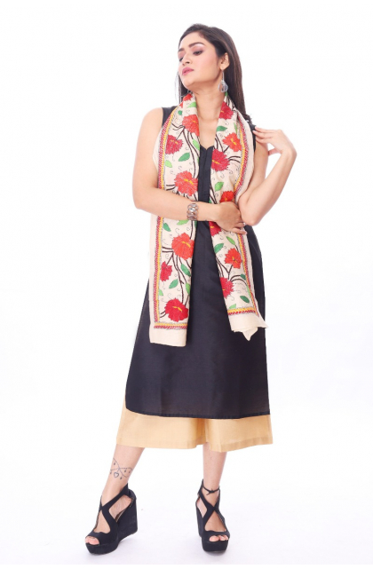 Off White Tussar Hand Embroidered Stole