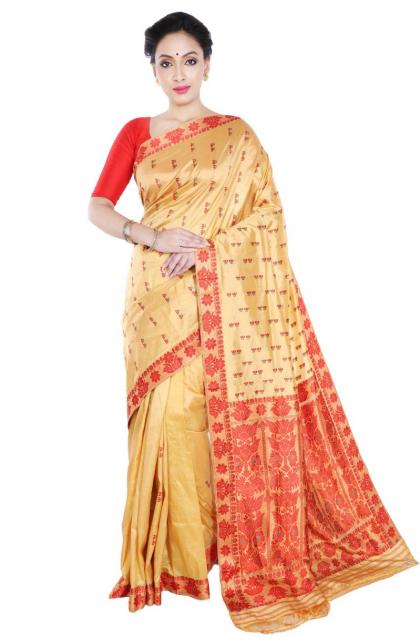 Beige Assam Silk Saree