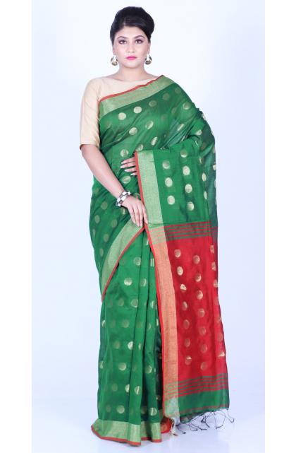 Green Cotton Blend Handloom Saree