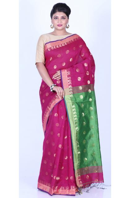 Magenta Cotton Blend Handloom Saree