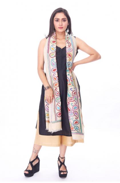 Offwhite Tussar Hand Embroidered Kantha Dupatta
