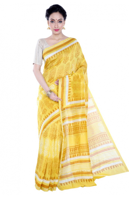 Yellow Printed Chanderi Saree