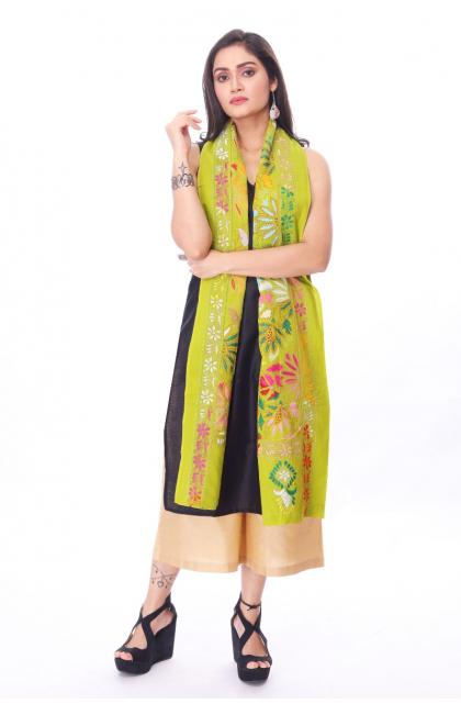 Green Cotton Hand Embroidered Kantha Dupatta