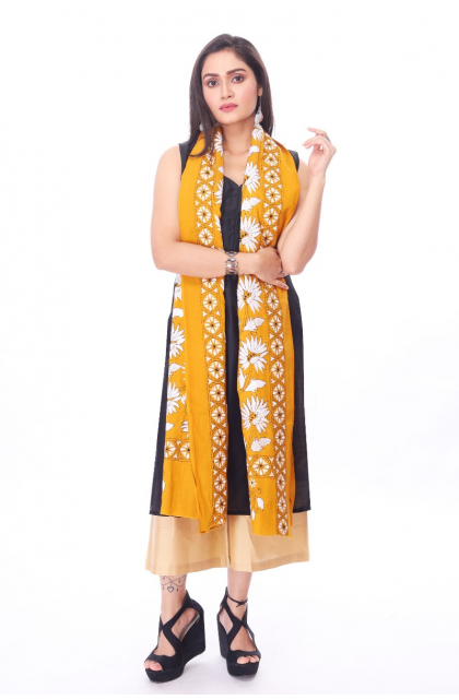 Yellow Cotton Hand Embroidered Kantha Dupatta