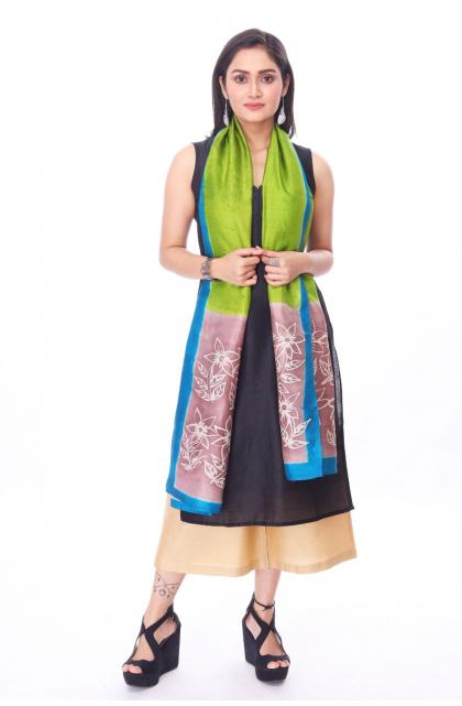 Green Silk Batik Stole