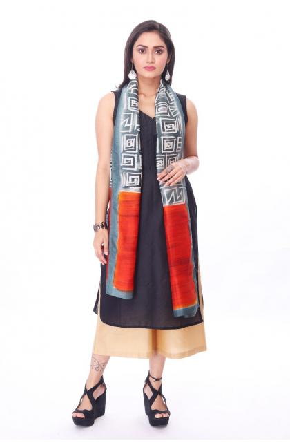 Grey Silk Batik Stole