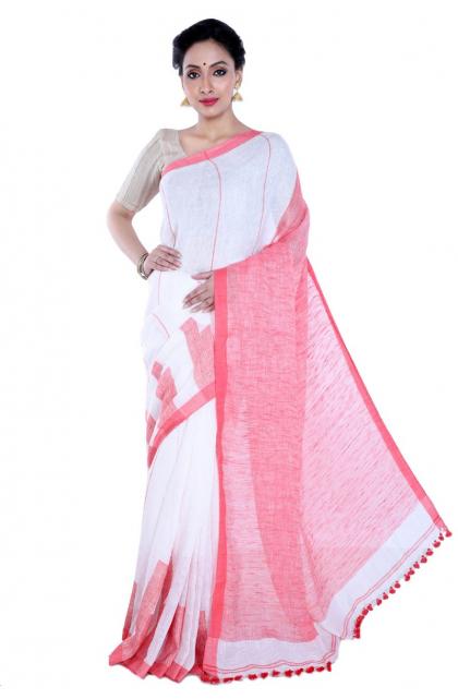 White Linen Handloom Saree