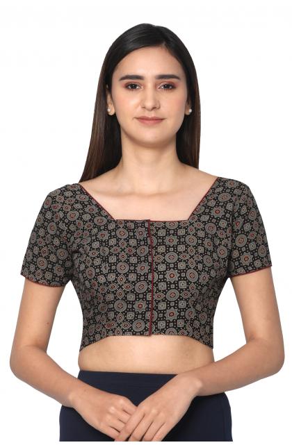 Black Cotton Ajrak Printed Blouse