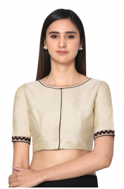 Creme Cotton Silk Embroidered Blouse