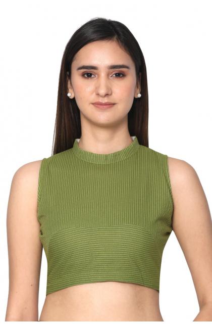 Moss green  Cotton Dobby Blouse