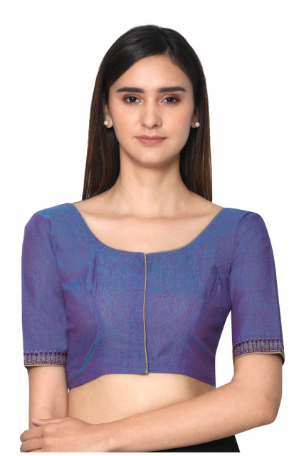 Purple South Cotton  Embroidered Blouse