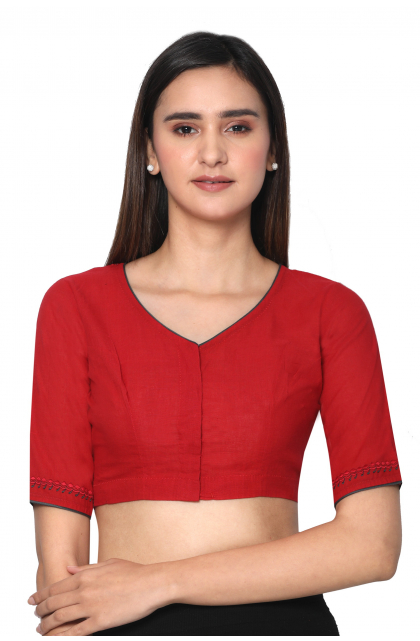 Red South Cotton Embroidered  Blouse