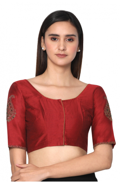Red Cotton Silk Hand Embroidered Stone Work Blouse