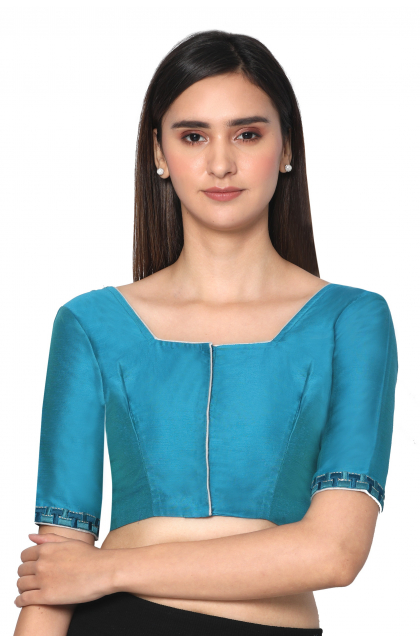 Blue Cotton Silk  Embroidered Blouse