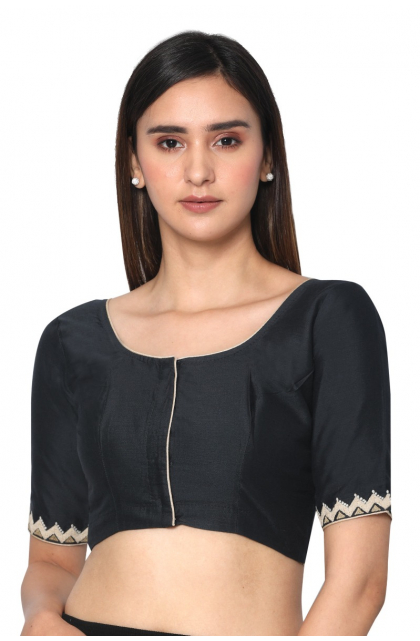 Black Cotton Silk Embroidered Blouse