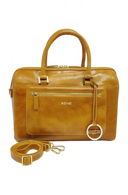 Genuine Leather Mustard Ladies Bag
