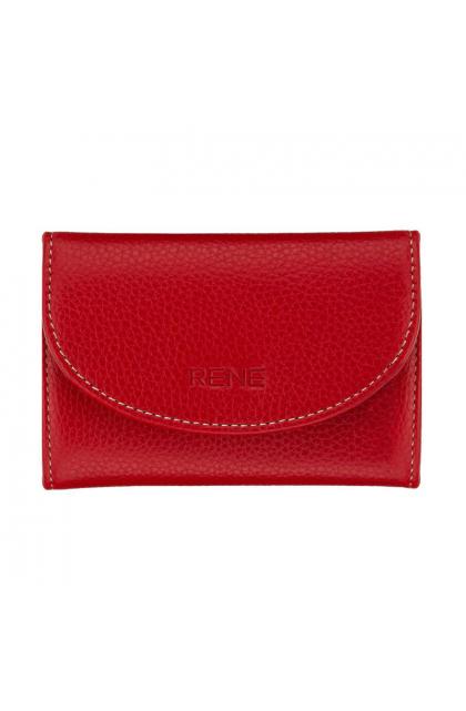 Rene Red Genuine Leather Slim Key Case