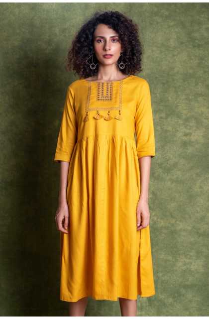YELLOW RAYON EMBROIDERED LONG DRESS