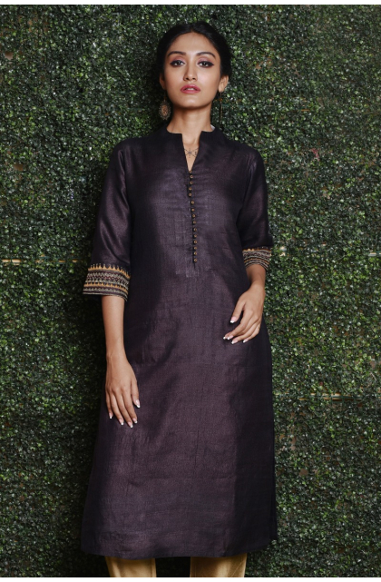BLACK COFFEE TUSSAR EMBROIDERED EXCLUSIVE LONG KAMEEZ