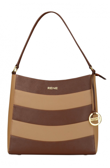 Genuine Leather Choco & Camel Ladies Bag