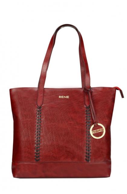 Genuine Leather Wine / Black Ladies Bag