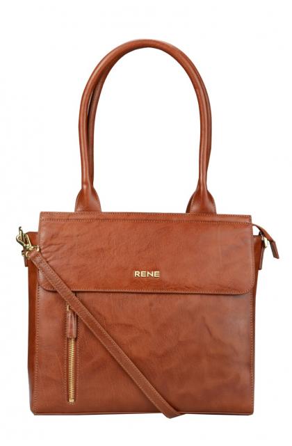Genuine Leather Tan Ladies Bag