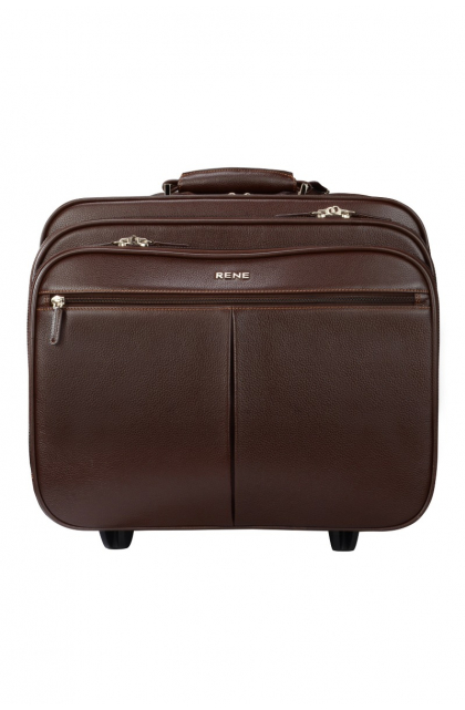 Genuine Leather Brown Trolley Bag