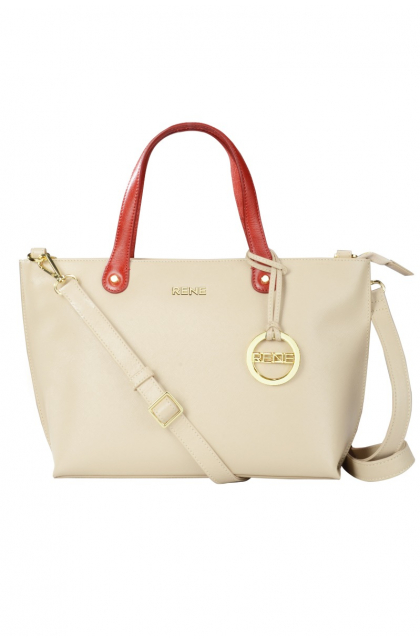 Genuine Leather Off-White / Red Ladies Bag