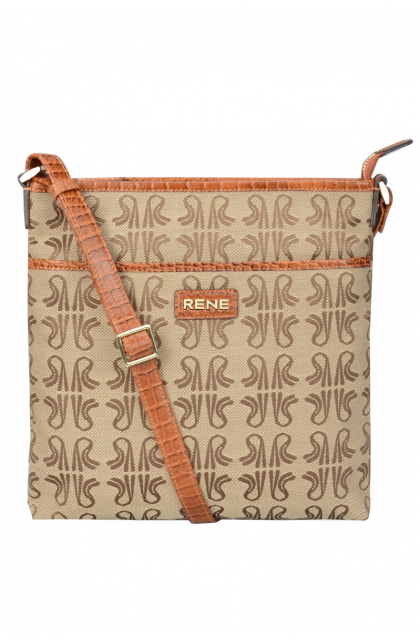 Signature Canvas & Genuine Leather Tan Sling Bag