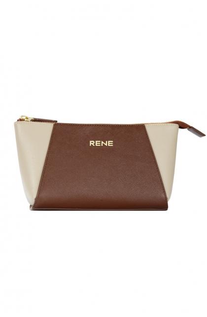 Genuine Leather Choco & Off-white Clutch