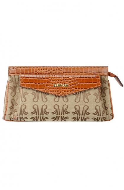 Signature Canvas & Genuine Leather Tan Clutch