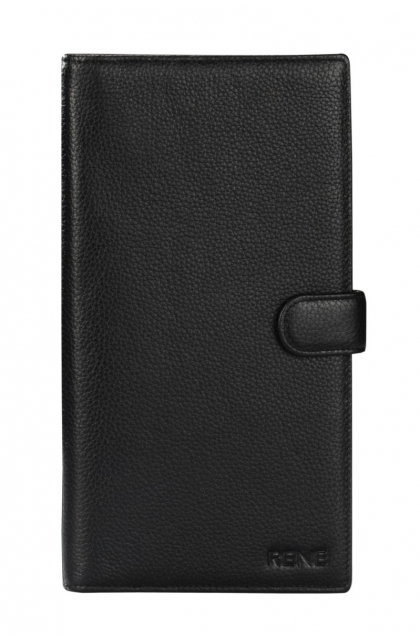Genuine Leather Black Travel Wallet